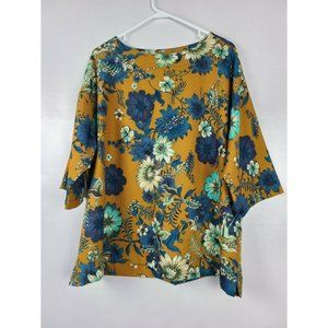 Bryn Walker Womens Top Mustered Yellow Floral SZ M